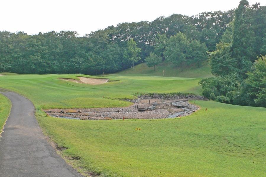 新武蔵丘ゴルフコース INコース16番ホール グリーンの手前にクリークがあります