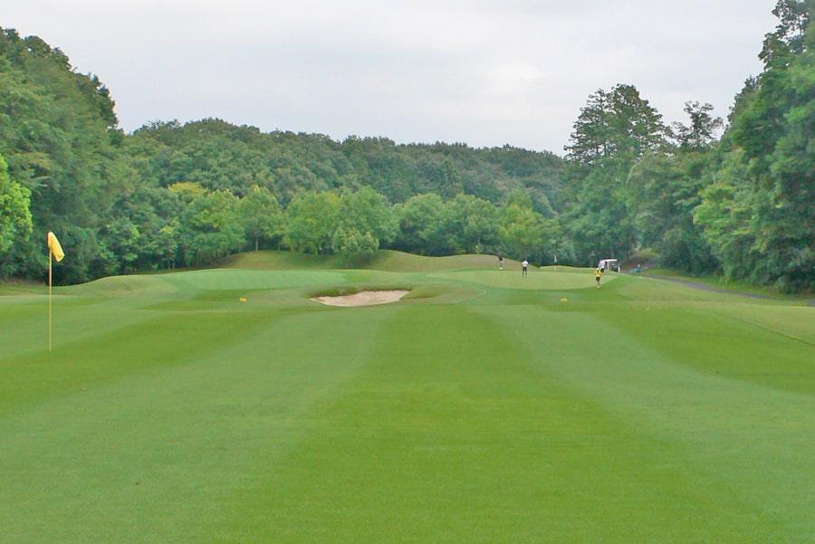 新武蔵丘ゴルフコース OUTコース1番ホール 2打目地点から見たグリーン