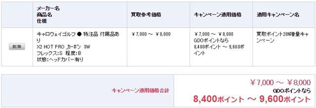 買取価格は¥7,000円から¥8,000円。 GDOポイントで受け取れば8,400POINTから9,600POINT