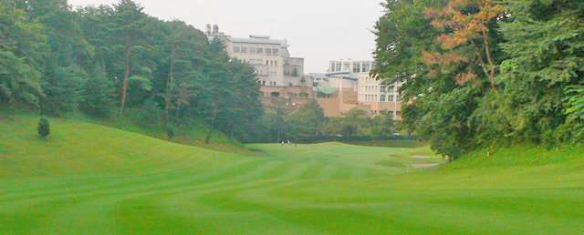 東京国際ゴルフ倶楽部INコース17番ホールの2打目地点