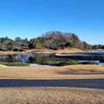 清澄ゴルフ倶楽部のクラブハウスから見たコースの風景